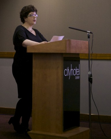 Collette Nulty (Peace III & Pobal) addressing the audience